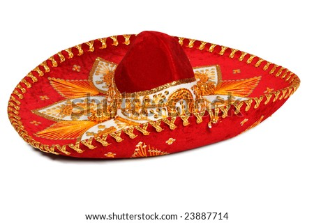Red sombrero (traditional mexican hat) isolated on white - stock photo