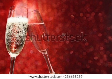 red space and champagne  - stock photo