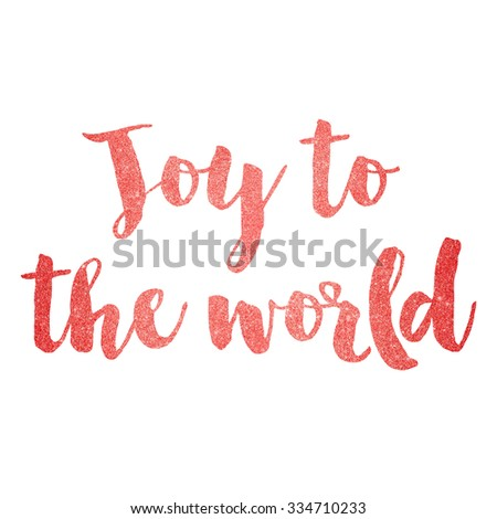 Red sparkling glitter text background joy to the world - stock photo