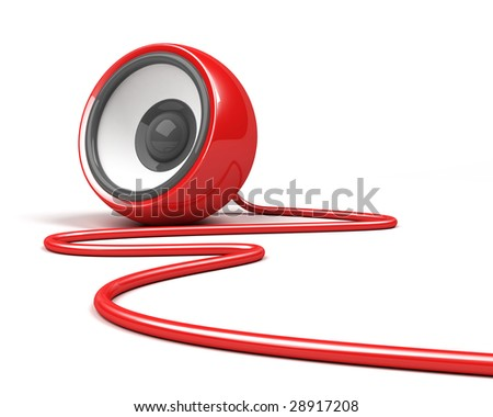red speaker with cable over white background - stock photo