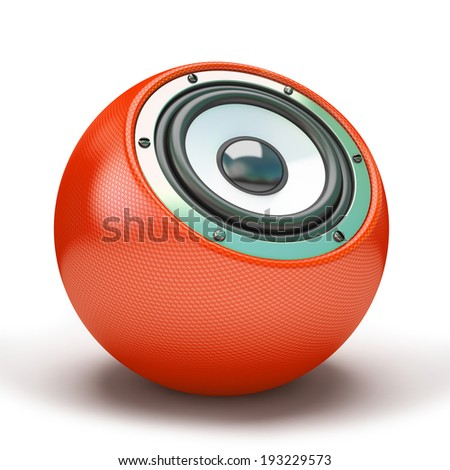 Red sphere speaker 3D - stock photo