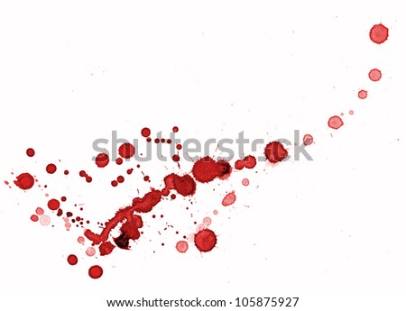 Red splashes on white background - stock photo