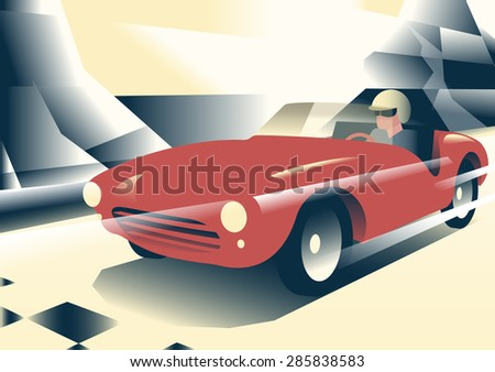 Red sport car - stock photo