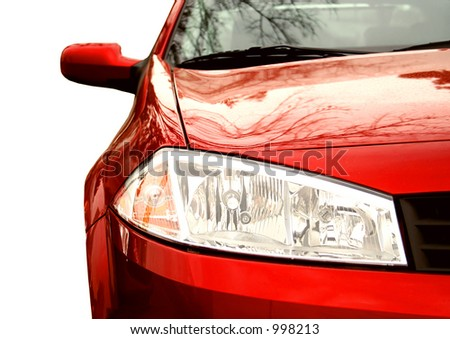 Red Sport Car - Front side, half - stock photo