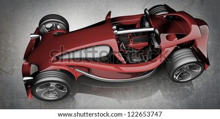 Red sport roadster. Concept.  (No trademark. This car is my own design) High resolution 3d render - stock photo