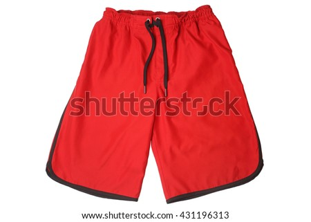 Red sport shorts isolated on white background