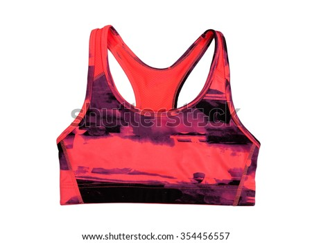 Red sports bra. Isolate on white. - stock photo