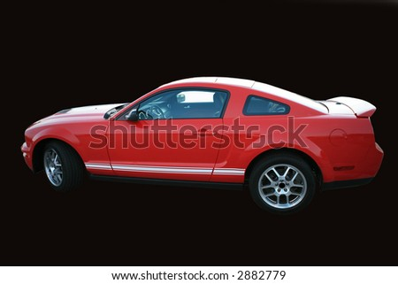Red sports car isolated on black with clipping path - stock photo