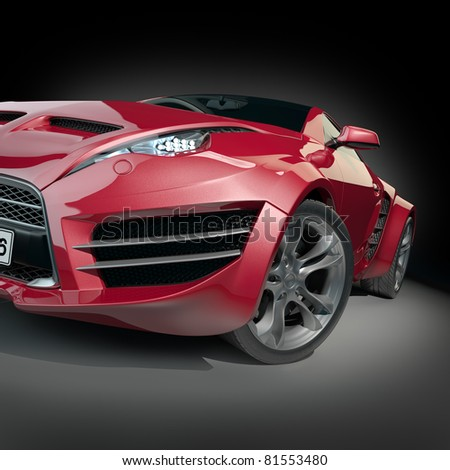 Red sports car. Non-branded concept car. - stock photo