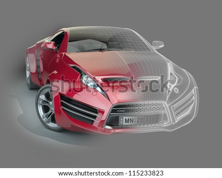 Red sports car with a wireframe. Non-branded concept car. - stock photo