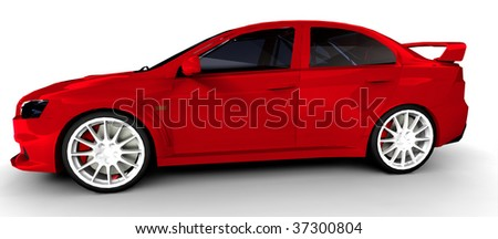 Red Sports Rally Car - side view Isolated on white - stock photo