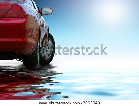 Red sporty car isolated on clean background reflects in the water. - stock photo