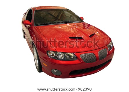 Red Sporty Car Isolated Over White - stock photo