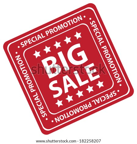 Red Square Big Sale Special Promotion Icon, Label or Sticker Isolated on White Background  - stock photo