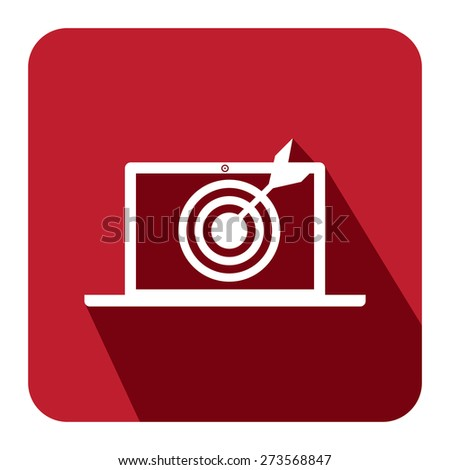 Red Square Darts Hitting a Target Bullseye in Computer Laptop Screen Monitor Long Shadow Style Icon, Label, Sticker, Sign or Banner Isolated on White Background - stock photo