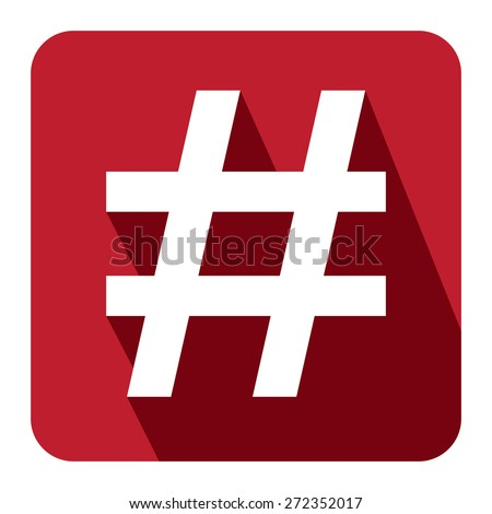 Red Square Hashtag, Tag Long Shadow Style Icon, Label, Sticker, Sign or Banner Isolated on White Background - stock photo