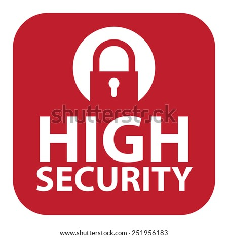 Red Square High Security Icon, Sign, Sticker or Label Isolated on White Background  - stock photo