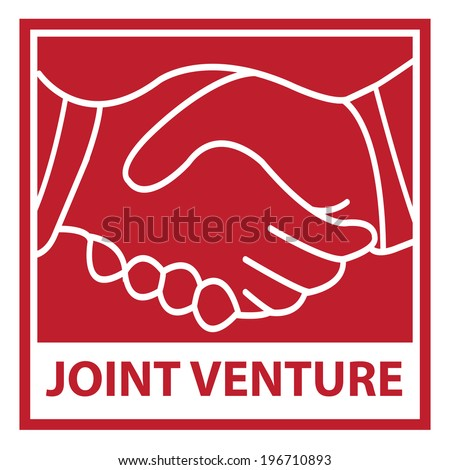Red Square Joint Venture Icon, Sticker or Label Isolated on White Background - stock photo