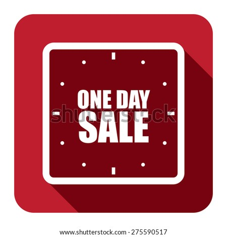 Red Square One Day Sale Text With Clock, Watch Flat Long Shadow Style Icon, Label, Sticker, Sign or Banner Isolated on White Background - stock photo