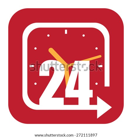 Red Square Open 24 Hours Label, Sign or Icon Isolated on White Background - stock photo