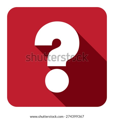 Red Square Question Mark Flat Long Shadow Style Icon, Label, Sticker, Sign or Banner Isolated on White Background - stock photo