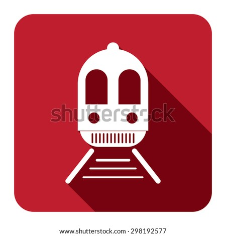 Red Square Train, Subway Station or Railway Station Flat Long Shadow Style Icon, Label, Sticker, Sign or Banner Isolated on White Background - stock photo
