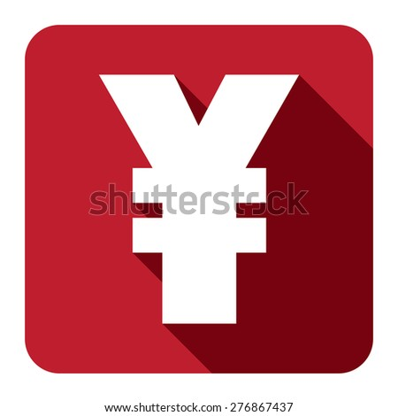 Red Square Yuan, Yen Currency Flat Long Shadow Style Icon, Label, Sticker, Sign or Banner Isolated on White Background - stock photo
