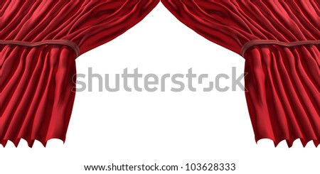 Red stage curtain and rich classical velvet drapes with an open blank center for text as a theatrical symbol of an important  performance or presentation on a white background. - stock photo