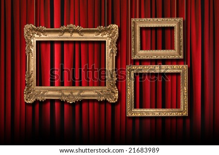 Red Stage Theater Curtains With 3 Hanging Gold Frames - stock photo