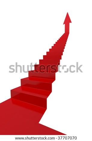 Red stairs to success - more variations of this image in portfolio - stock photo
