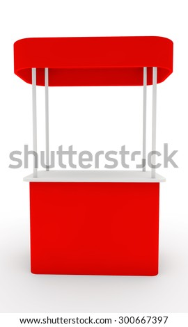 red stand for display of advertizing production with a roof front view - stock photo