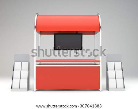 red stand or kiosk in exhibition with tv display - stock photo
