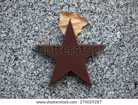 Red star and autumn birch leaf at the Soviet War Memorial with graves of Soviet soldiers fallen in the last days of World War II at the Olsany Cemetery in Prague, Czech Republic. - stock photo