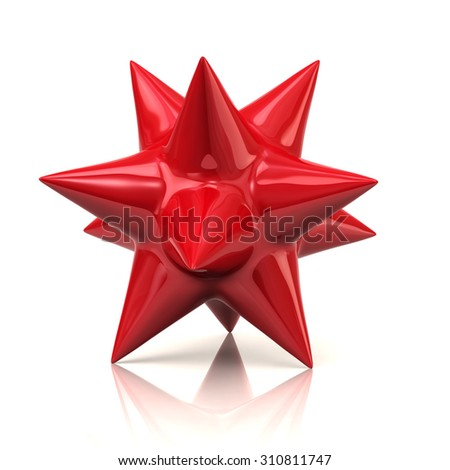 Red star isolated on white background - stock photo