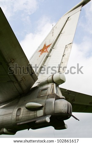 "Red star on the tail of Soviet/Russian Tu-95 ""Bear""  strategic bomber - stock photo"