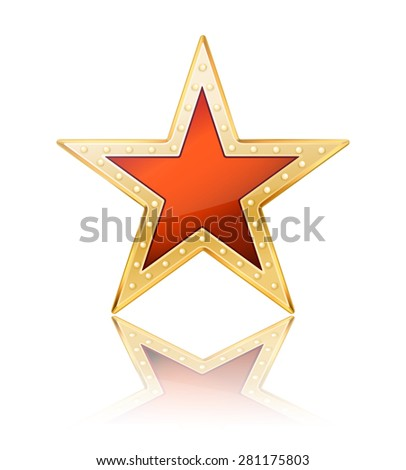 red star with golden frame on white - stock photo