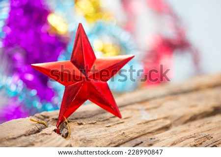 Red Star xmas ornaments  holiday background with space for text - stock photo