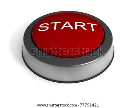 Red Start Button isolated at white background. - stock photo