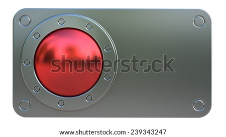 Red START button  isolated on white background. High resolution 3d - stock photo
