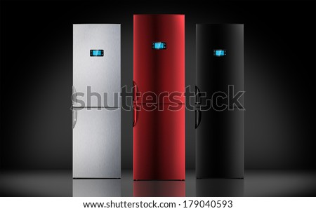 red steel and black refrigerator, LCD monitor, pult, backlight, touch - stock photo