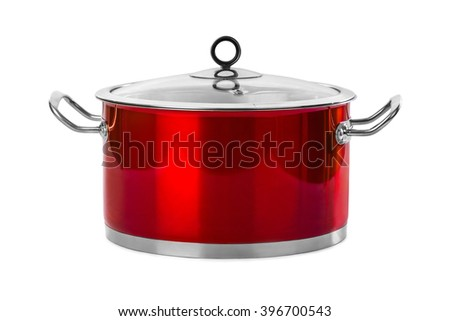 Red steel pan isolated on white background - stock photo