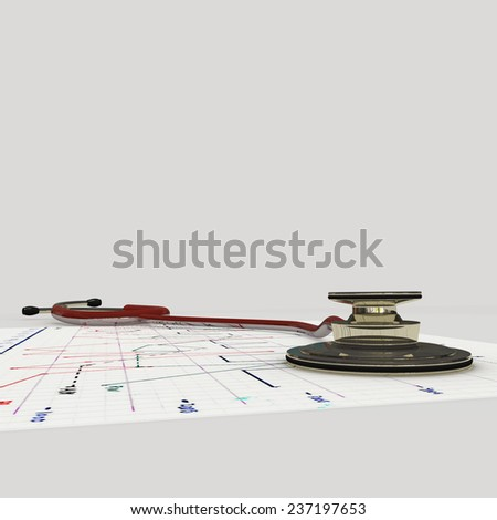 red stethoscope on ecg test results - stock photo