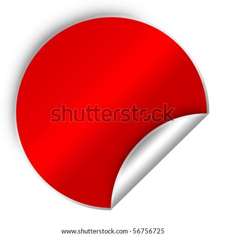 red sticker - stock photo