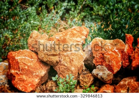 red stones - french riviera - stock photo