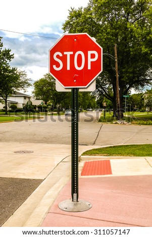 Red stop sign - stock photo
