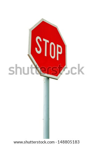 Red stop sign on the street, roadside traffic sign for stopping isolated on white background - stock photo