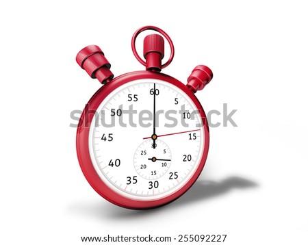 red stopwatch 3D rendering - stock photo