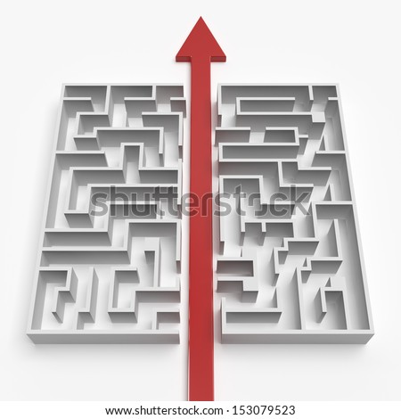 red straight line through the maze - stock photo