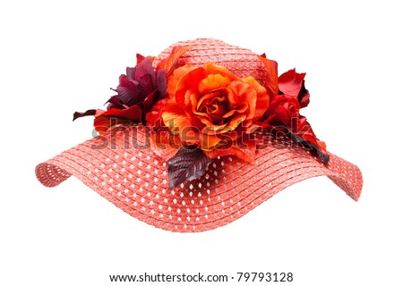 red straw hat with flower - stock photo