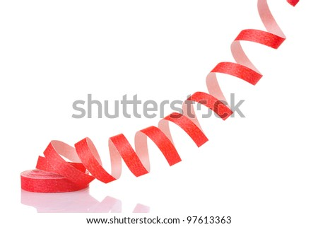 red streamer isolated on white - stock photo